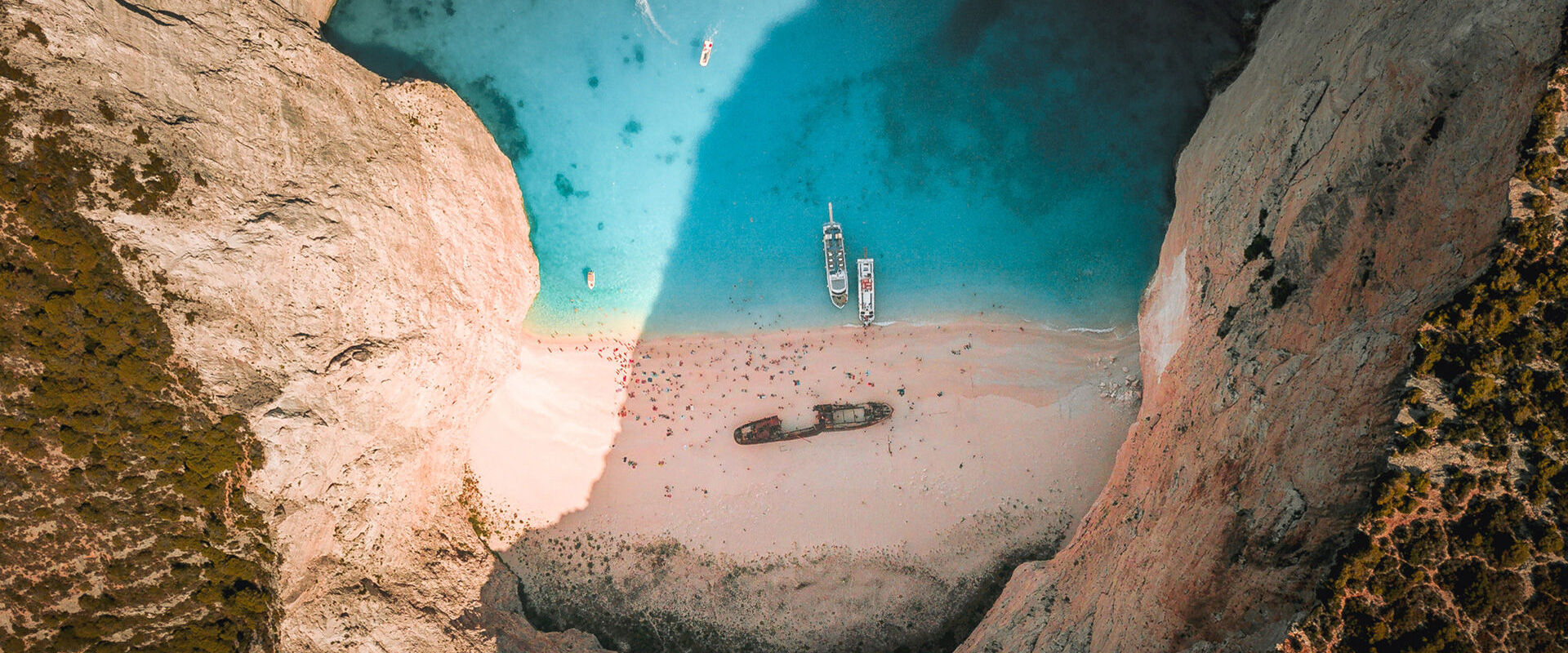 A bird's eye view of Navagio beach