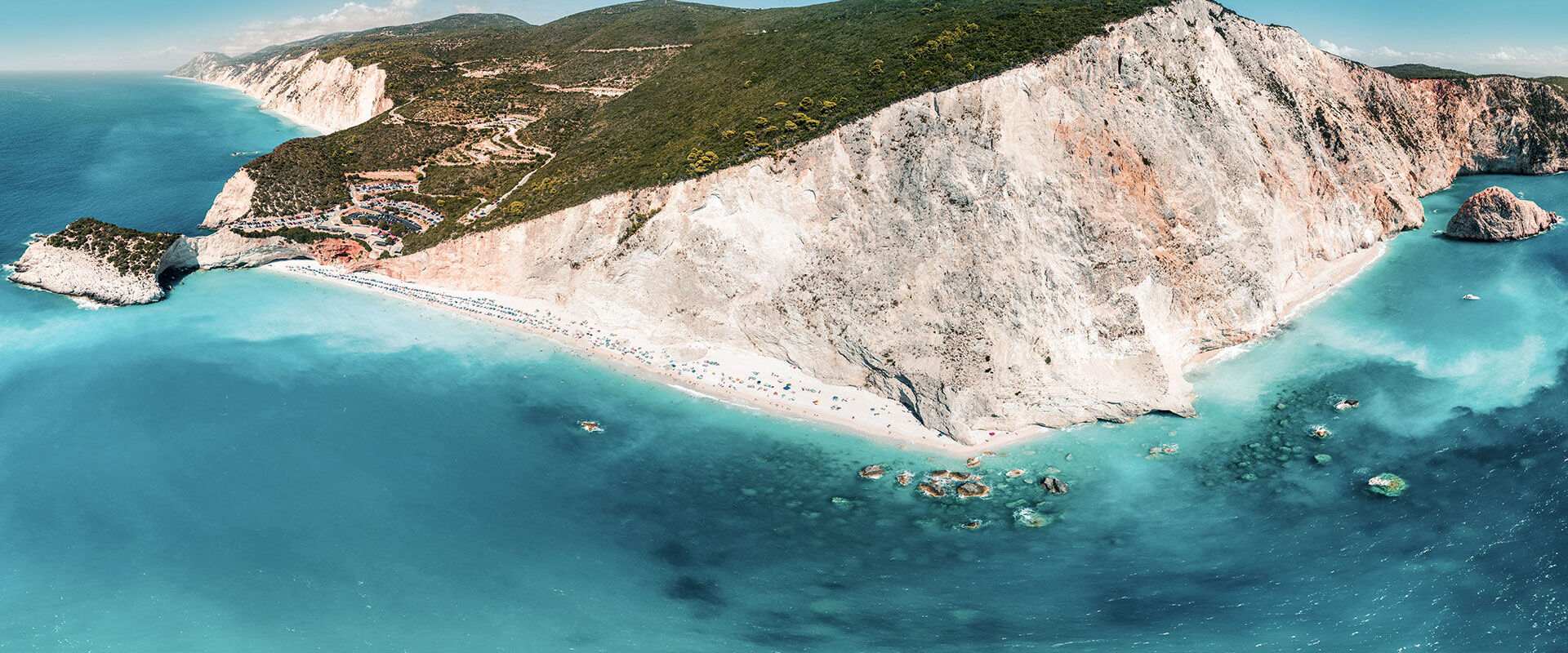 Aerial panorama of Porto Katsiki beach, one of the most famous in Lefkada