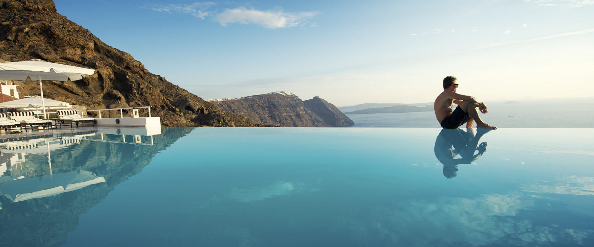 Pool in Santorini, Greece