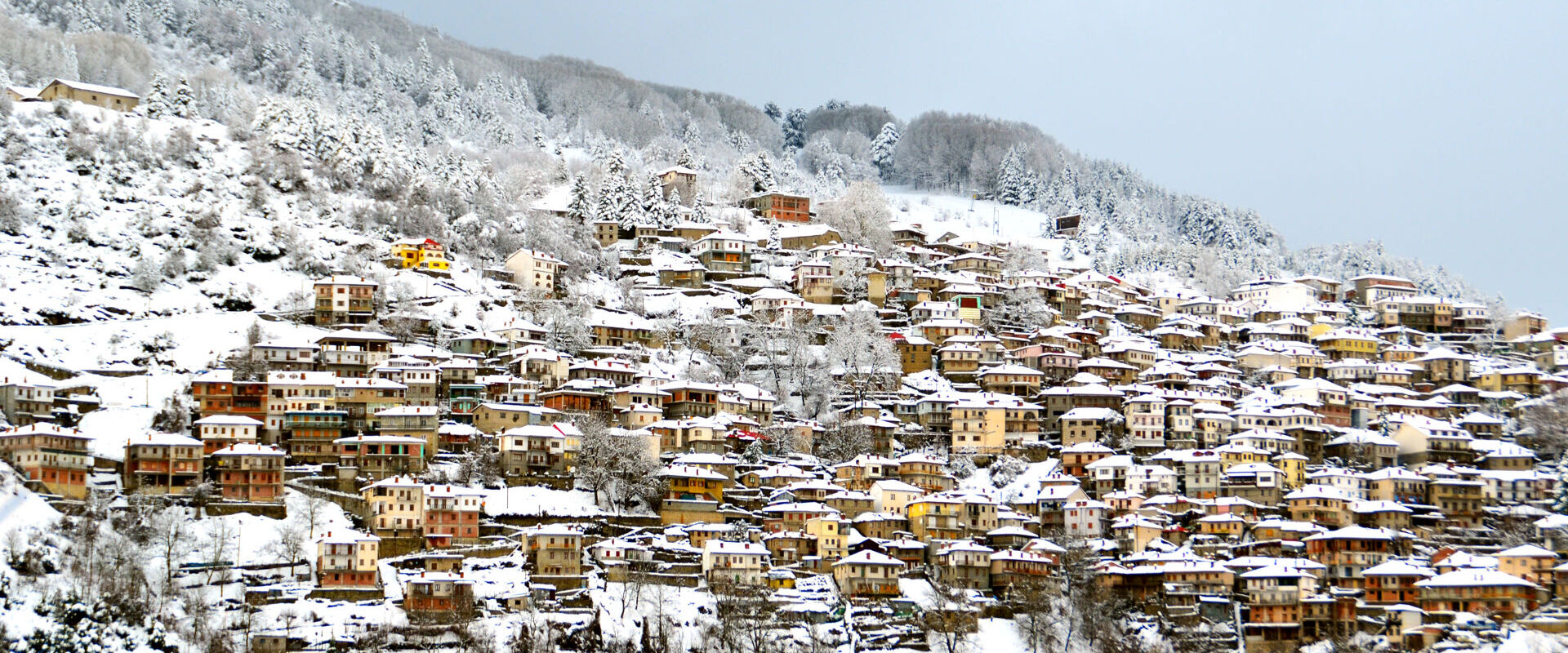 Metsovo tourist resort in Greece - snow winter