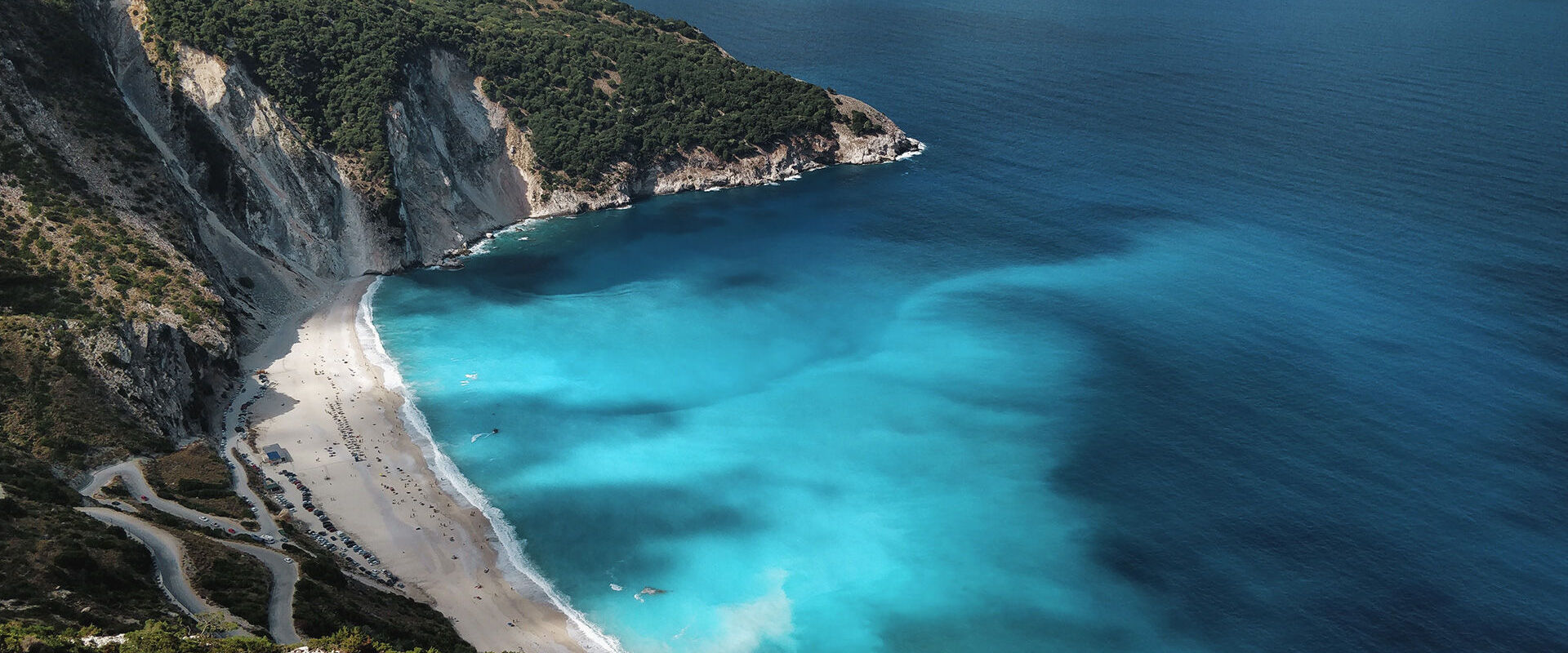Amazing blue waters of Myrtos beach in Kefalonia