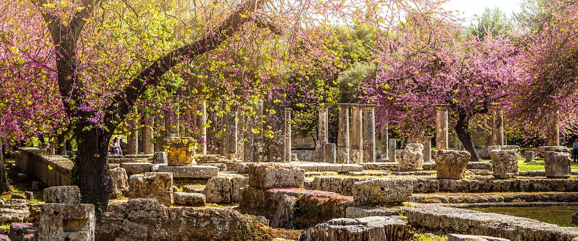 The best experience in Ancient Olympia, is in spring when the olive groves and flowers are in bloom