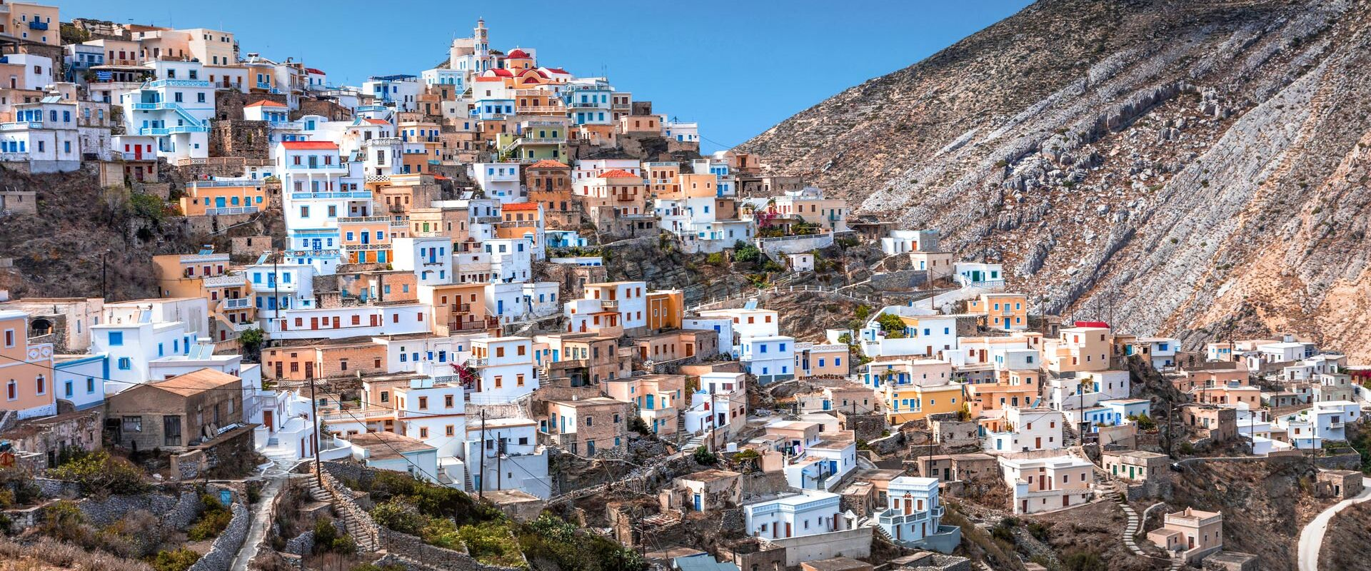 Olymbos, the most famous village in Karpathos island, with panoramic views