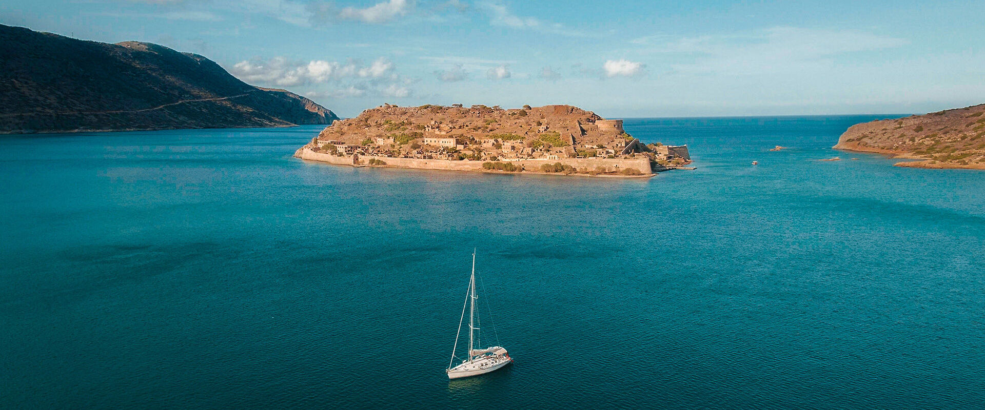 Aerial view of Spinalonga in Crete
