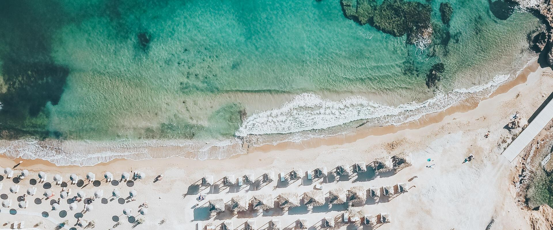 Bird's eye view of abeach on Ios Island in the Cyclades