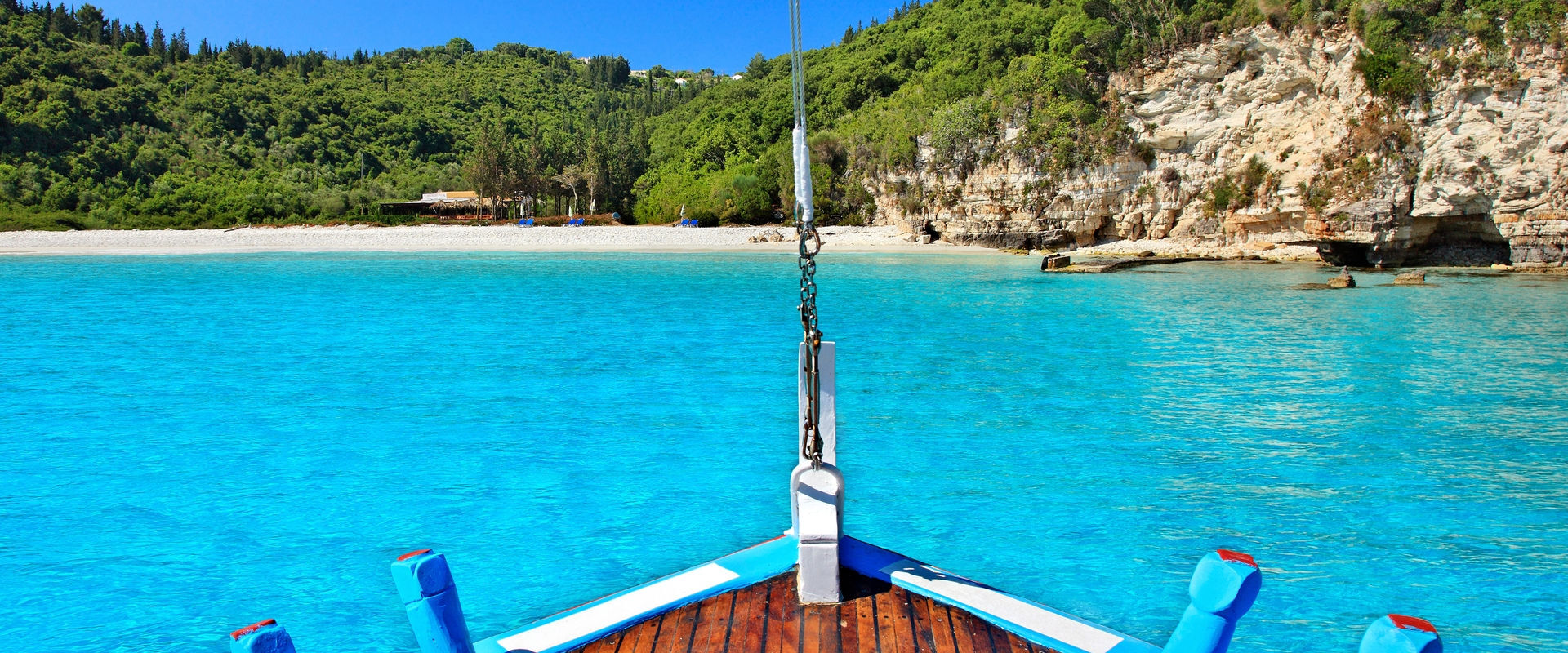 Approaching the exotic Voutoumi beach, Antipaxos island