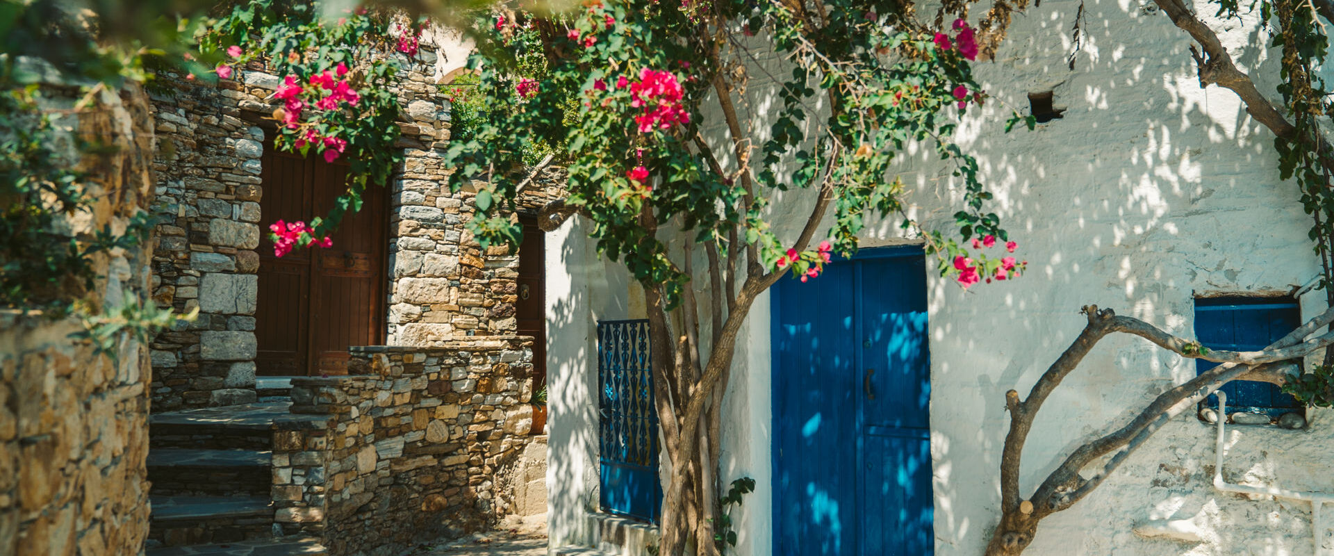 Sangri, a village with an Upper and Lower part, combining medieval architecture and Cycladic