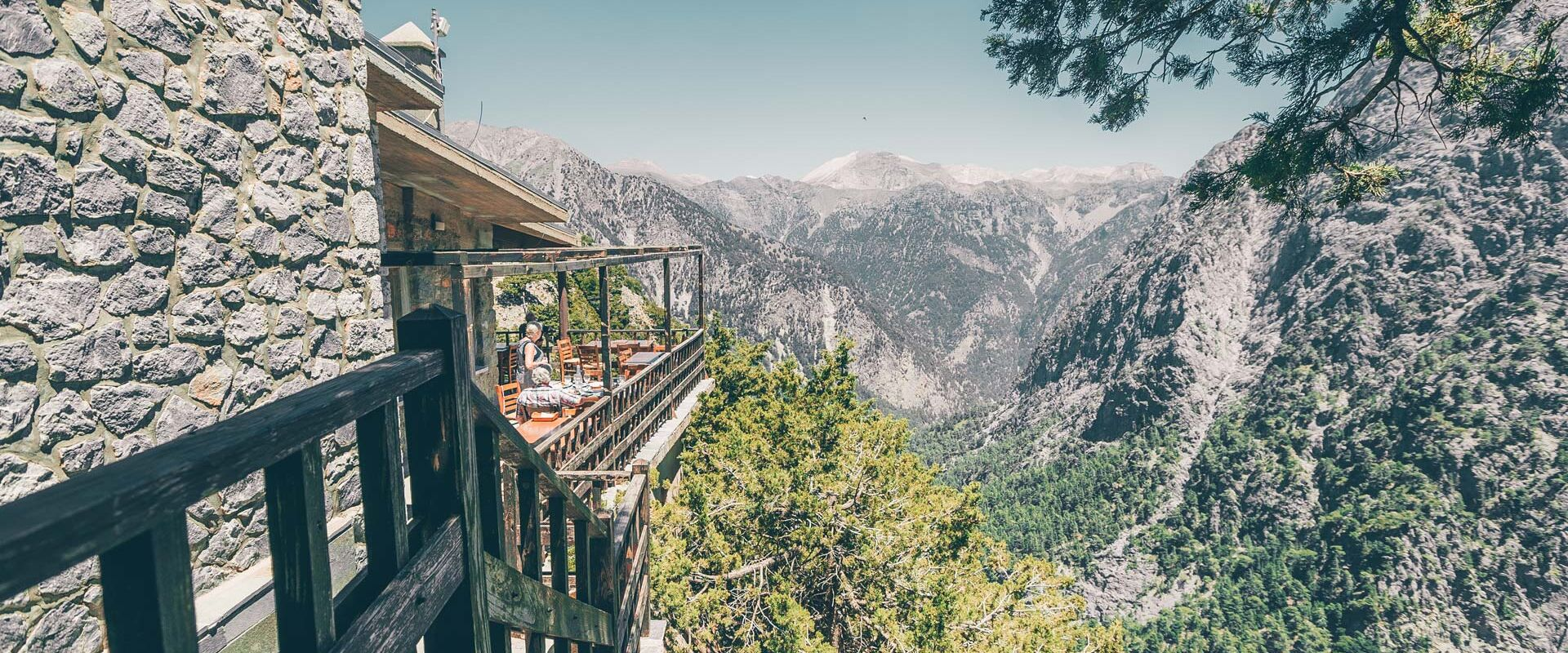 There's no better build-up to the hike than the view of the gorge from the taverna at Xyloskalo, at an altitude of 1,200m