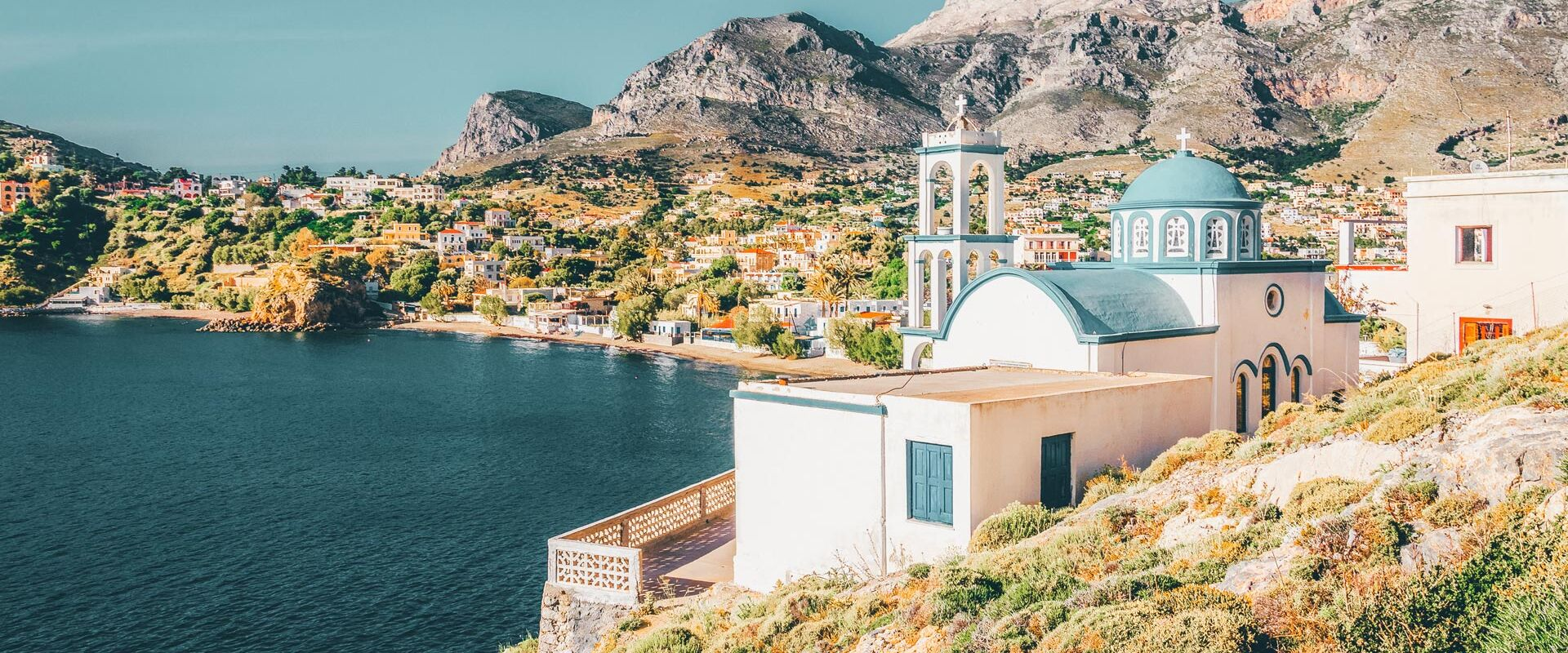 Typical Greek blue dome churches, Kalymnos