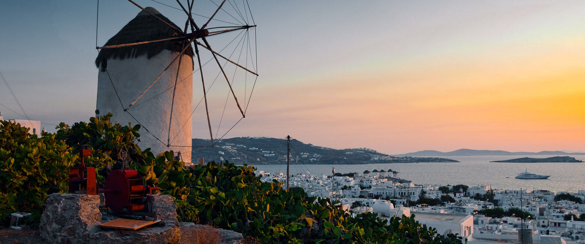 The traditional windmills of Mykonos is one of the best sunset spots