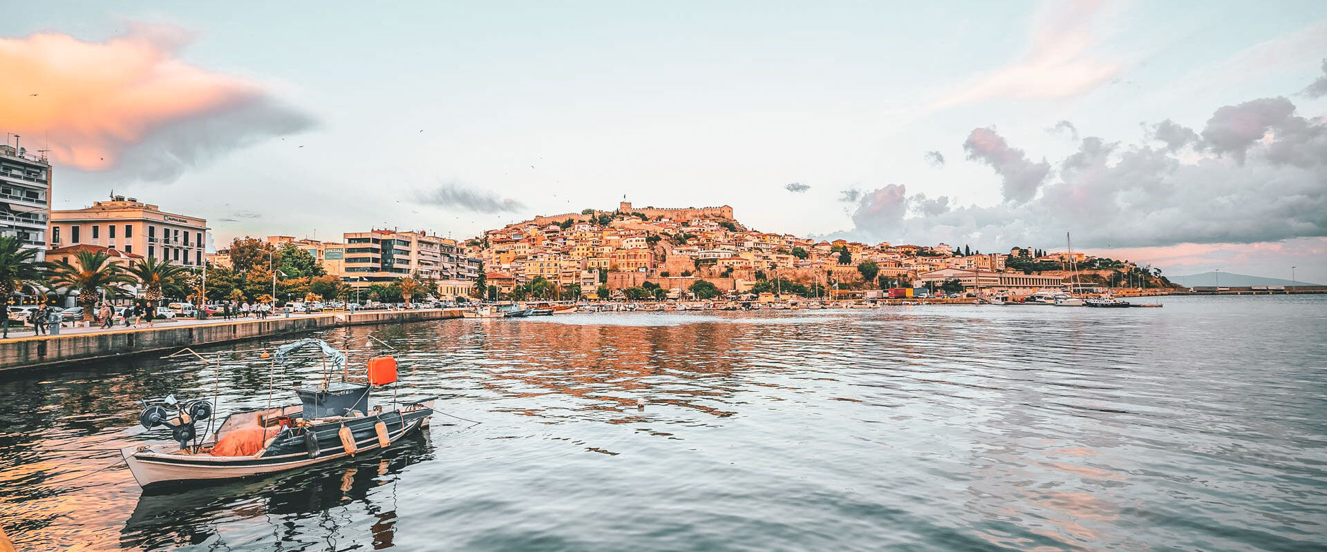 One of the simple pleasures of visiting Kavala is to take a stroll by the sea
