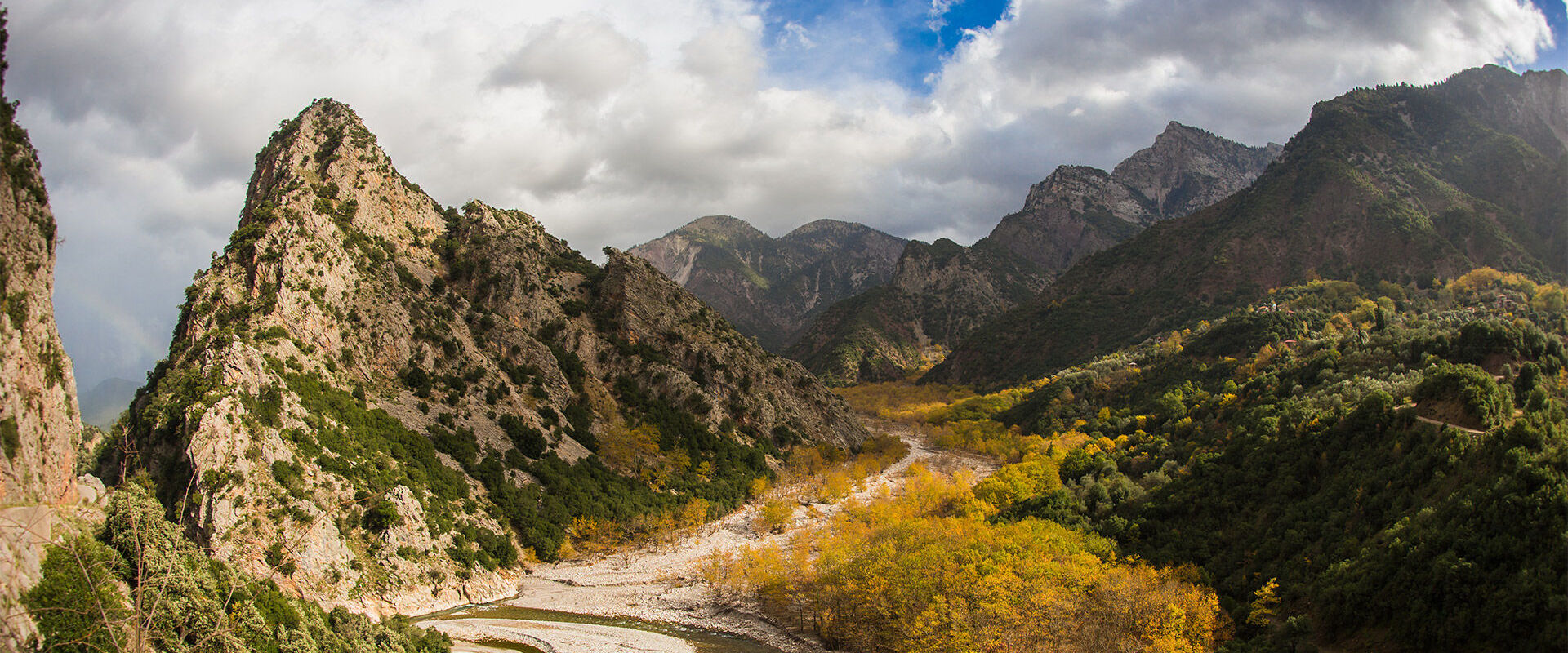 Scenic mountain autumn landscape with a river near Karpenisi