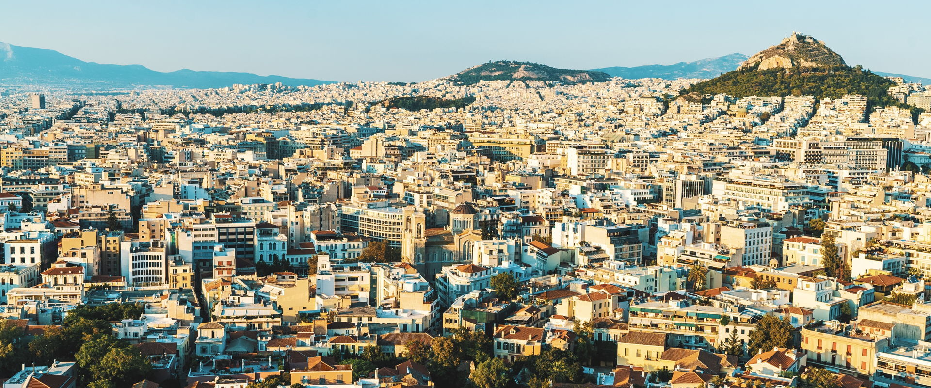 The city of Athens at Sunset