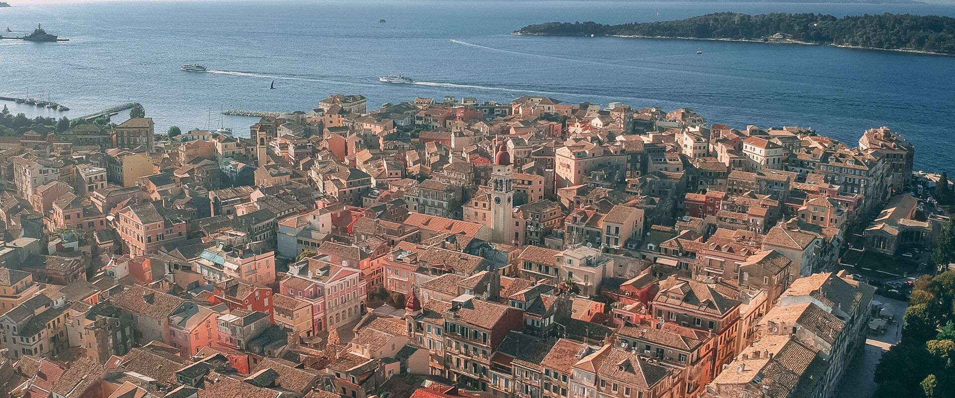 Aerial view of Corfu Old Town, Greece