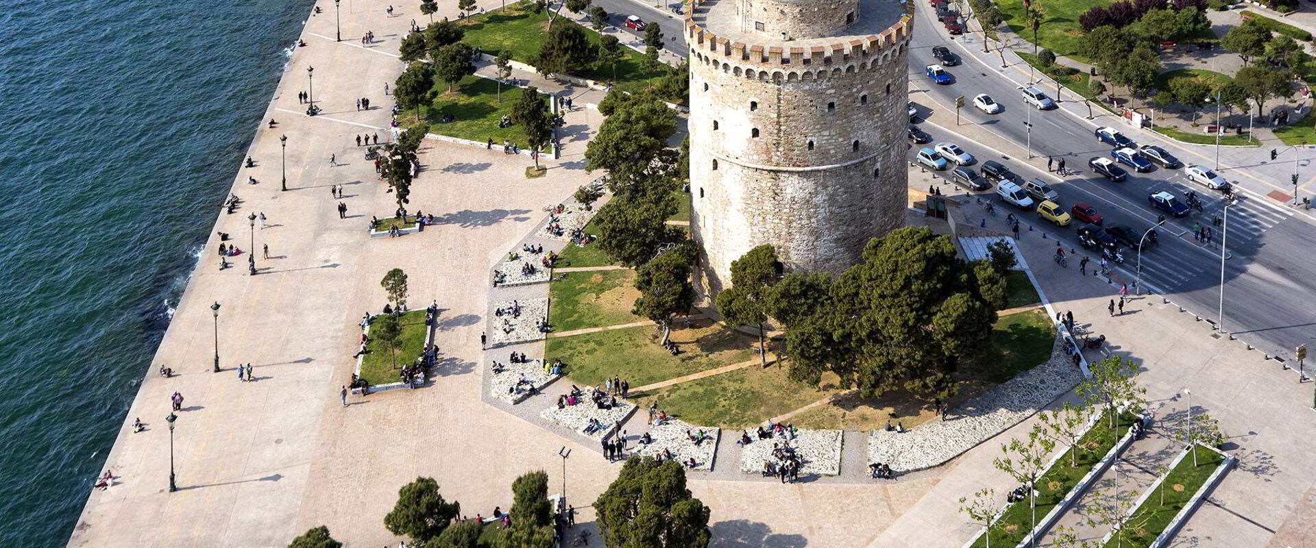 aerial view of the white tower in Thessaloniki