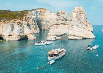 Milos' beautiful beaches and bays revealed by boat