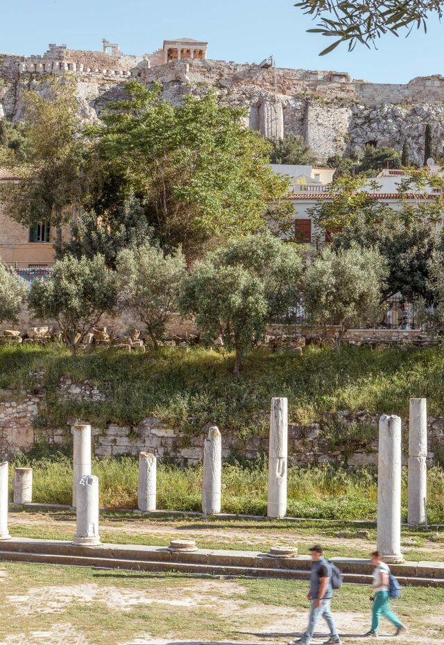 Head past the Roman Agora and across the cobbled streets of Plaka and on to Monastiraki