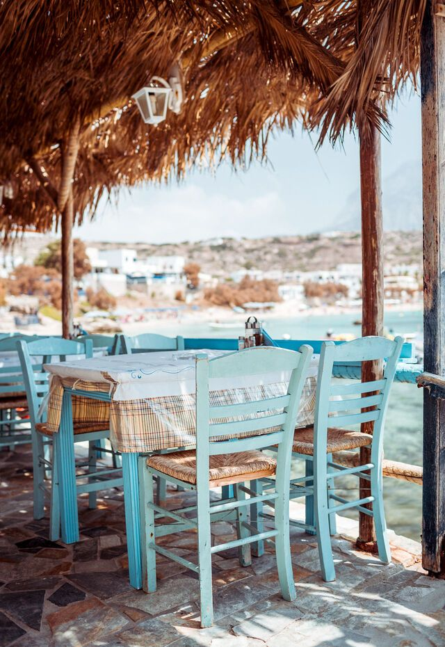 Traditional greek tavern located in a small fishing port