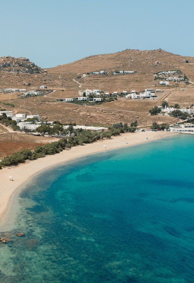 Mykonos' Kalafatis beach in early summer months.