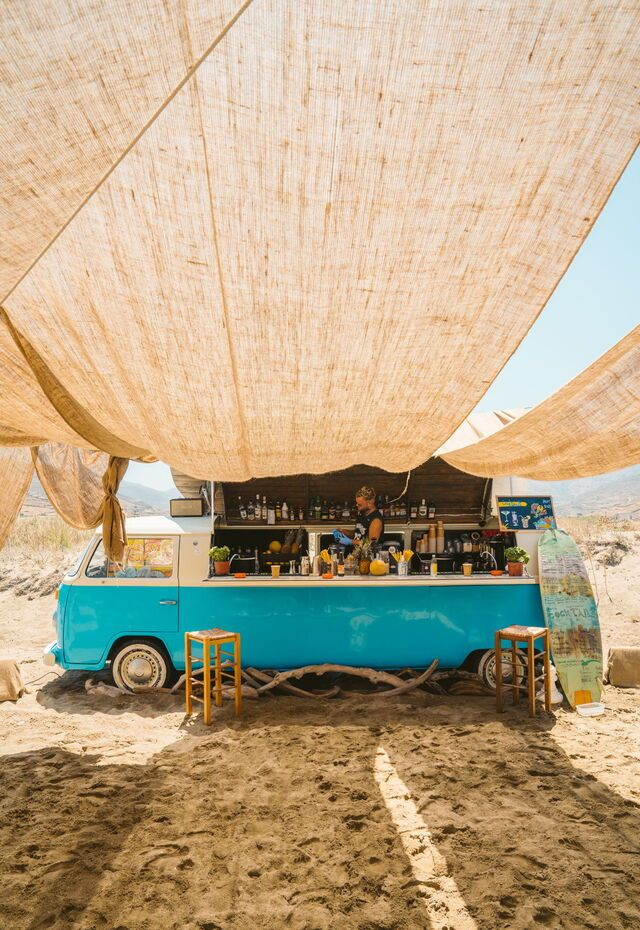 Boho beach bar on Megali Kolympithra