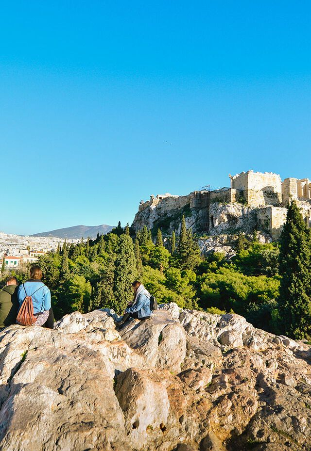 View of the Acropolis drom the Pnyx, the meeting place of democratic legislatures in antiquity