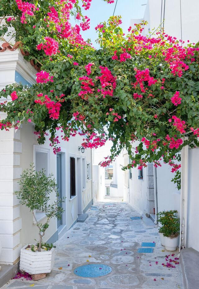 Make sure to explore the streets of Hora with cobbled alleys, as well as neoclassical building with beautiful gardens