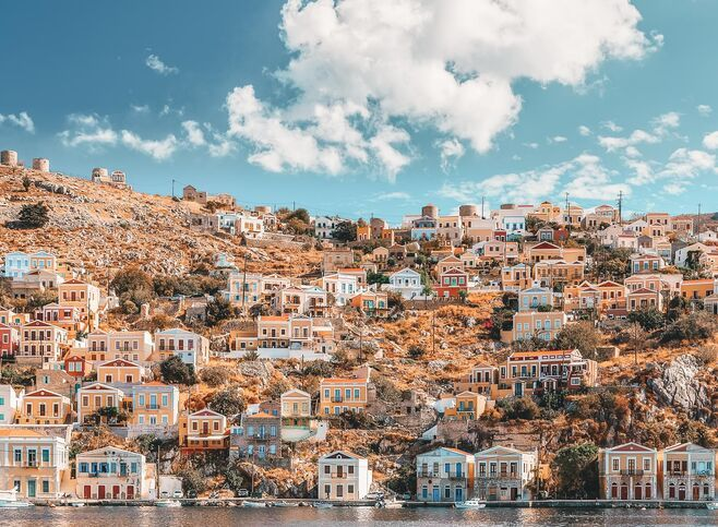 Beautiful summers day on the Greek island of Symi