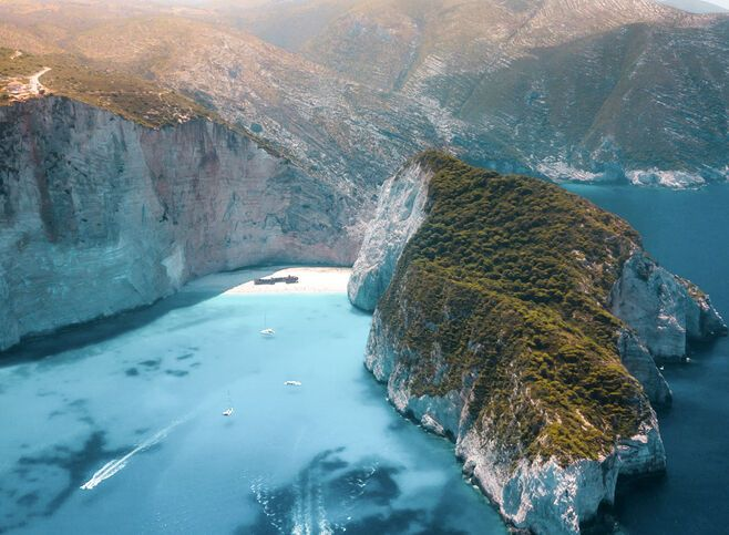 Navagio beach from above