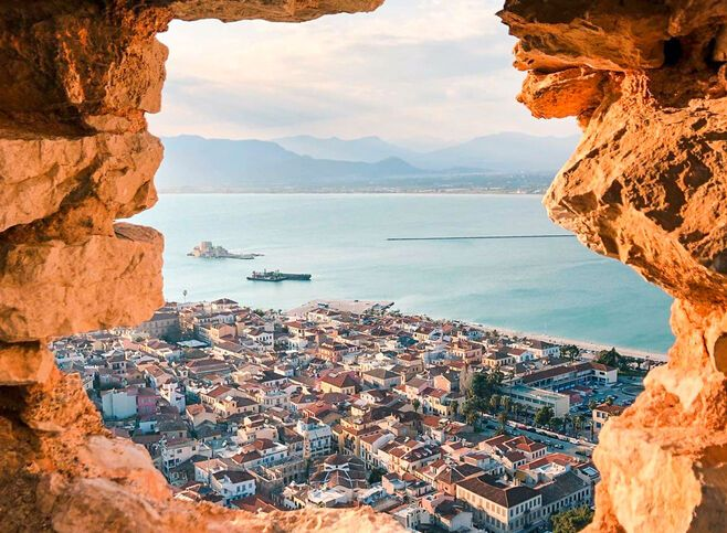 View of Nafplio city and Bourtzi Castle from Palamidi Castle