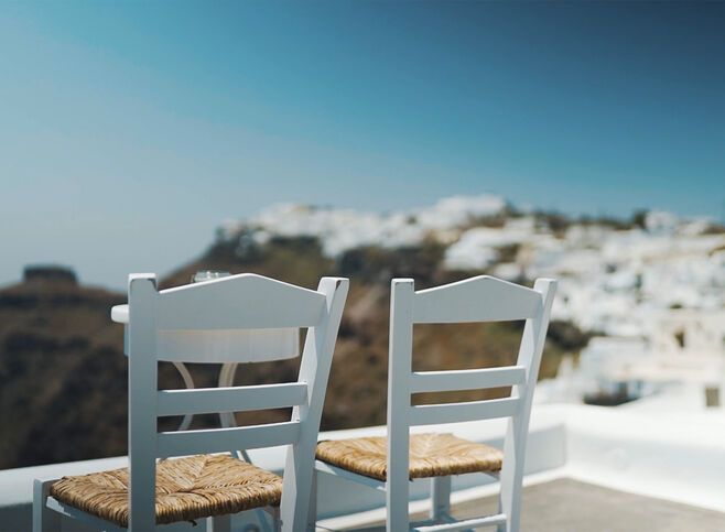 Cafe in Santorini with a caldera view