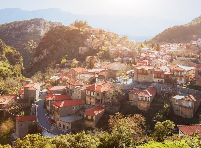 Panoramic view of traditional greek village Stemnitsa