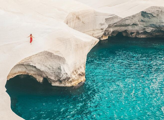 Incredible Sarakiniko beach, a trip to the moon in Milos island