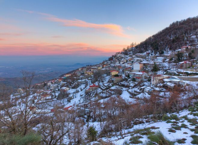Morfovouni village during winter, close to Karditsa