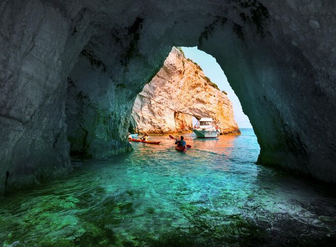 Sea kayaking offers a unique water-level appreciation of Zakynthos' extraordinary Blue Caves