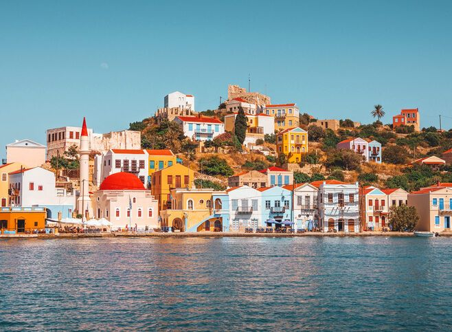 The harbour of Kastelorizo, a technicolour amphitheatre