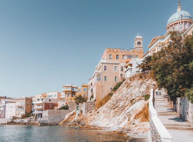 Heading northeast, you reach Ermoupouli's magnificent main church, known locally as Agios Nikolaos of the Rich