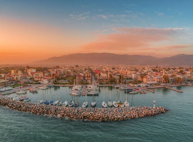 Idyllic landscape of Kalamata's Marina at sunset