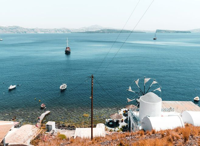 View of Santorini island from Thirassia