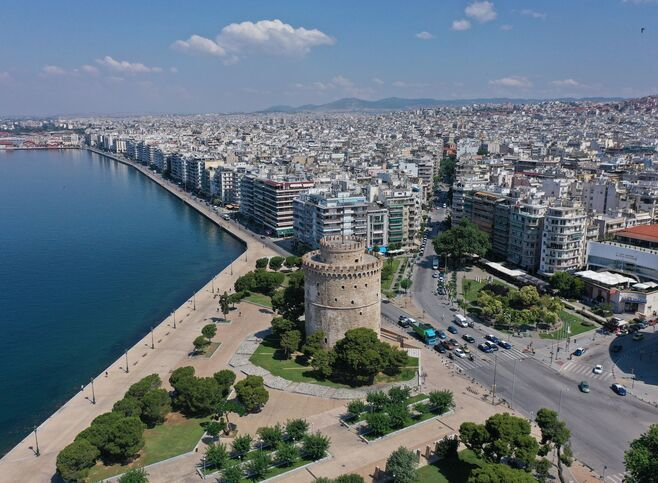 Aerial view of Thessaloniki's White Tower