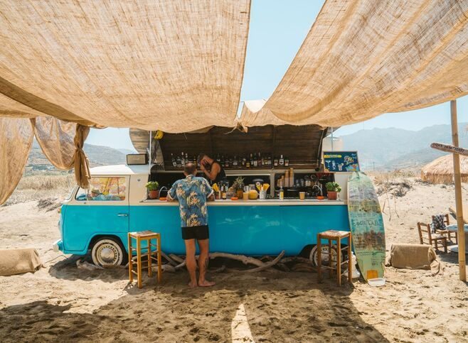 If you are looking for a boho feel and that extra touch of Instagrammability, go to Kolymbithra beach bar!