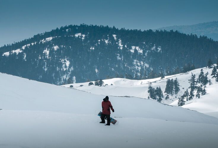 Snowboarder in Parnassos ski centre