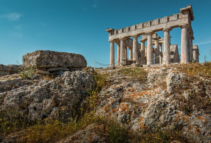 The temple of Aphaia is located on the eastern side of the island on a peak some 160 meters high