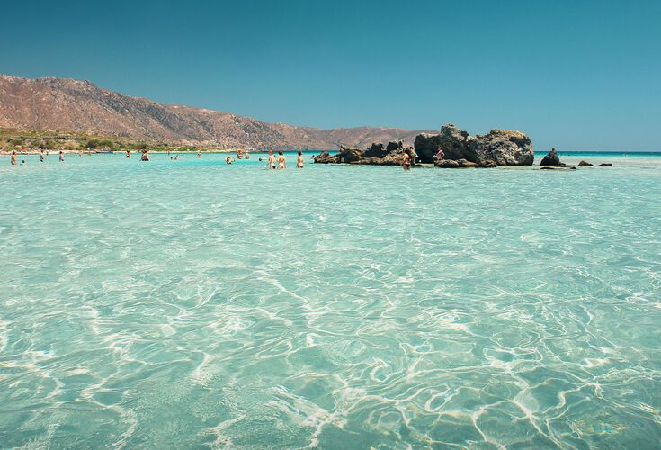 Elafonissi is an island you can easily wade to through knee-deep water
