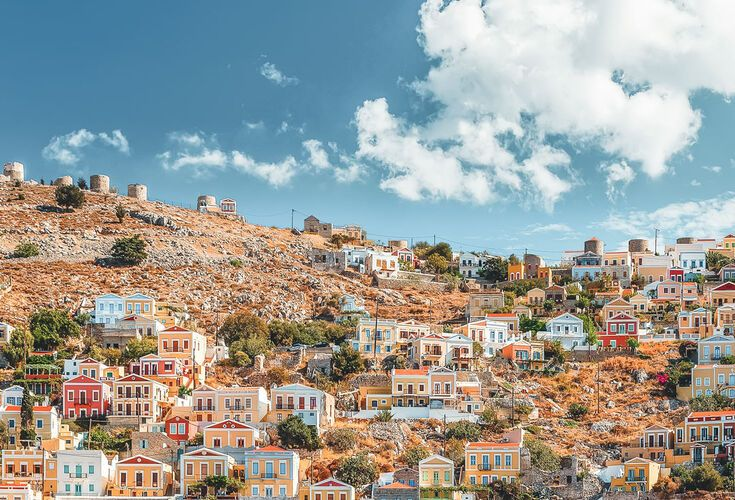 Beautiful summers day on the Greek island of Symi in the Dodecanese
