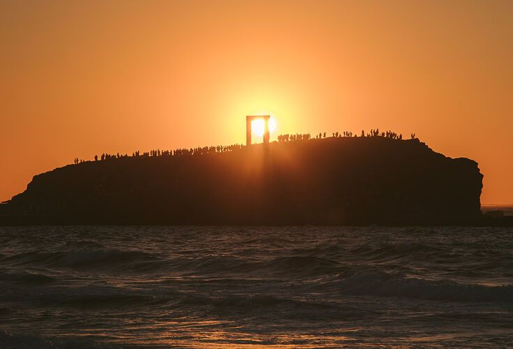 Sunset view of the Ancient Portara, Naxos