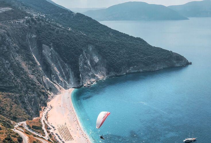 Tandem paragliding flight over Myrtos Beach, Kefalonia