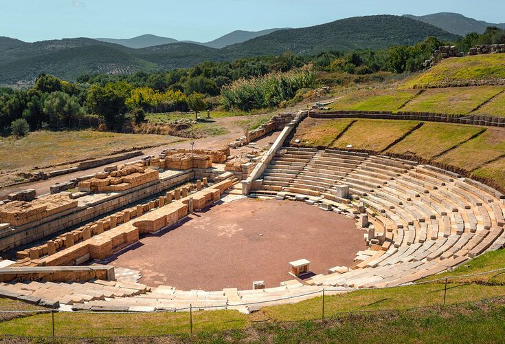 The first monument as you enter is the theatre, built in 3-2BC and regarded as one of the greatest examples of its kind