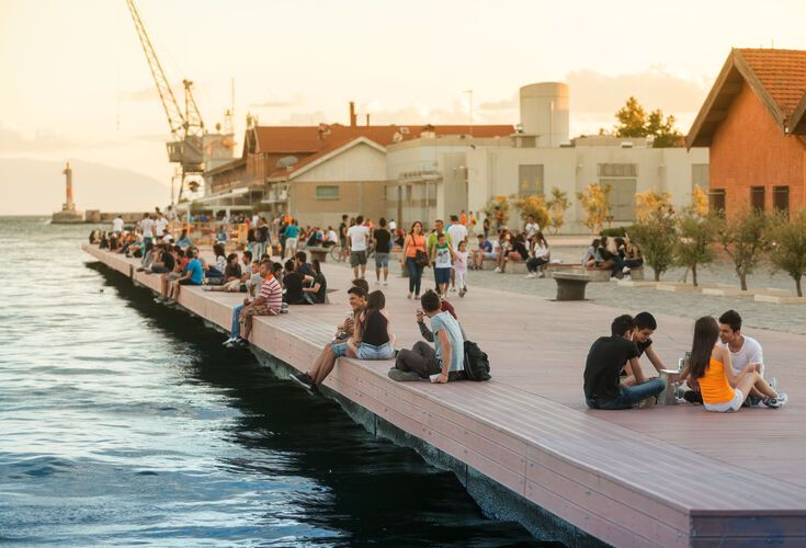 The harbor during the International Film Festival in Thessaloniki