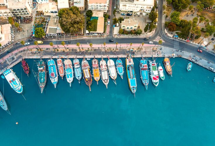 At the excellent Marina you can hire a boat and skipper to discover Kos' beaches for yourself