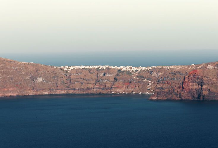 View of Thirassia island from Santorini